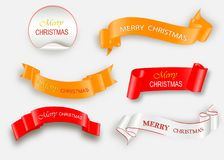 Merry Christmas celebration background with red realistic ribbon banner and snow. Vector illustration royalty free illustration