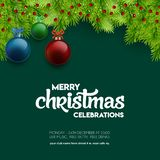 Merry Christmas Celebration Balls with Bokeh green background royalty free illustration