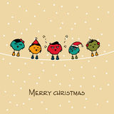 Merry Christmas celebration with bird. Stock Images