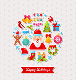 Merry Christmas Celebration Card with Traditional Royalty Free Stock Photography