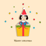 Merry Christmas celebration concept with little girl in santa ca Royalty Free Stock Photos