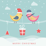 Merry Christmas celebration concept with love bird and hanging c Stock Photos