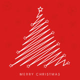 Merry Christmas celebration concept with X-mas tree. Merry Christmas celebration with creative stylish Xmas tree on snowflake decorated red background Royalty Free Stock Photos