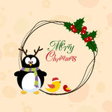 Merry Christmas celebration concept with penguin, love bird and Stock Photo