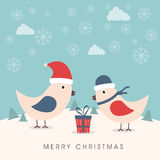 Merry Christmas celebration with cute love bird and gift box. Stock Photos