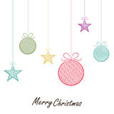 Merry Christmas celebration greeting card design with Xmas Ball. Colorful hanging Xmas Balls and stars for Merry Christmas celebration on white background Royalty Free Stock Photos