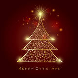 Merry Christmas celebration greeting card with Xmas Tree. Stock Photo