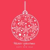 Merry Christmas celebration with hanging Xmas Ball. Stock Image