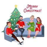 Merry Christmas Celebration. Happy Friends Celebrating New Year at Home Stock Photos