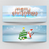 Merry Christmas celebration header or banner set. Merry Christmas celebration website header or banner set with beautiful text, snowman, Xmas Tree and Xmas Ball Royalty Free Stock Image