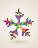 Merry Christmas celebration multicolors snowflake card. Christmas postal card snowflake rainbow colors triangles origami composition. EPS10 vector file organized Royalty Free Stock Images