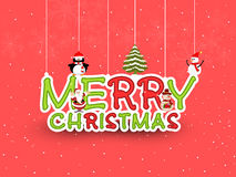 Merry Christmas celebration poster, banner or flyer design. Merry Christmas celebration poster, flyer or banner with beautiful hanging text, penguin, snowman Stock Photography