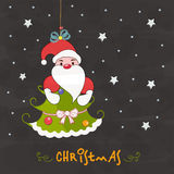 Merry Christmas celebration poster design. Hanging Santa Claus with Xmas tree for Merry Christmas celebration on stars decorated grey background Stock Images