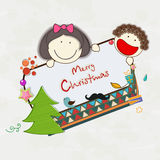 Merry Christmas celebration poster with little kids. Stock Images