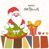 Merry Christmas celebration poster with Santa and xmas tree. Stock Photos