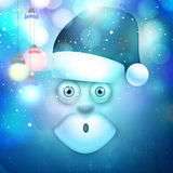 Merry Christmas celebration with Santa Claus. Merry Christmas celebration with creative illustration of Santa Claus and hanging lights on shiny blue background Stock Images