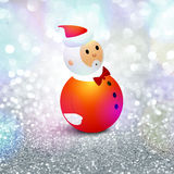 Merry Christmas celebration with Santa Claus. Cute Santa Claus on silver glitter background for Merry Christmas celebration Stock Images