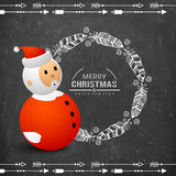 Merry Christmas celebration with Santa Claus. Merry Christmas and Happy New Year celebration with cute Santa Claus and floral decorated feathers on chalkboard Royalty Free Stock Images