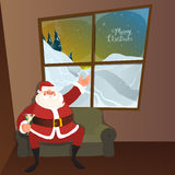 Merry Christmas celebration with Santa Claus. Happy Santa Claus sitting on sofa and wishing on occasion of Merry Christmas Stock Images
