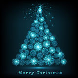 Merry Christmas celebration with snowflake decorated Xmas Tree. Royalty Free Stock Photos