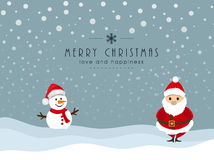 Merry Christmas celebration with snowman and santa claus. Cute cartoon of snowman in Santa hat and Santa Claus on winter background for Merry Christmas Stock Image