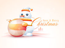 Merry Christmas celebration with snowman and Xmas Ball. Stock Photo