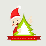 Merry Christmas celebration with stylish text, santa and x-mas t Stock Image