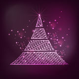 Merry Christmas celebration with stylish Xmas tree design. Merry Christmas celebration with beautiful floral decorated Xmas Tree on shiny purple background vector illustration