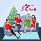 Merry Christmas Celebration. Two Couples Celebrating New Year at Home Royalty Free Stock Image