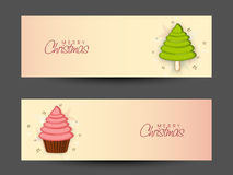 Merry Christmas celebration web header or banner design. Website header or banner set with Xmas Tree and cupcake for Merry Christmas celebration Royalty Free Stock Photos