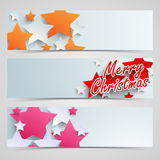 Merry Christmas celebration web header or banner set. Stock Photos