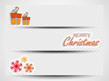 Merry Christmas celebration web header or banner set. Merry Christmas celebration website header or banner set with gift boxes and snowflakes Stock Images