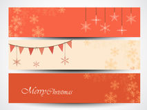 Merry Christmas celebration website header or banner set. Stock Images