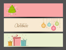 Merry Christmas celebration website header or banner set. Stock Images