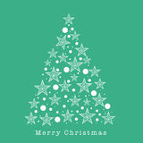 Merry Christmas celebration with Xmas Tree. Beautiful Xmas Tree made by stars for Merry Christmas celebration on sea green background Royalty Free Stock Photography