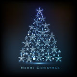 Merry Christmas celebration with Xmas Tree design. Shiny beautiful Xmas Tree made by stars for Merry Christmas celebration on blue background vector illustration