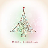 Merry Christmas celebration with Xmas Tree. Shiny beautiful Xmas Tree decorated by stars for Merry Christmas celebration on colorful shiny background vector illustration