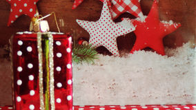 Merry Christmas Celebrations Decor Group. Xmas decor with Stars at background Royalty Free Stock Photos