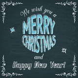 Merry Christmas chalkboard greeting card Stock Images
