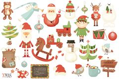 Merry Christmas Characters and Xmas Elements Royalty Free Stock Images