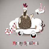 Merry Christmas chicken and egg Stock Images