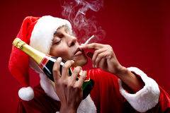 Merry Christmas Chilling Santa Royalty Free Stock Photography