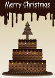 Merry Christmas With Chocolate Cake_eps Stock Images