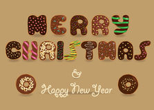 Merry Christmas. Chocolate Donuts font. Festive Inscription with chocolate donuts letters. Merry Christmas. Happy New Year. Unusual sweet artistic font. Vector Royalty Free Stock Image