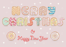 Merry Christmas. Chocolate Donuts font. Festive Inscription with white chocolate donuts letters. Merry Christmas. Happy New Year. Unusual sweet artistic font Stock Photography