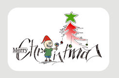 Merry Christmas Christmas Background - Cartoon Style Hand Sketch Royalty Free Stock Photo