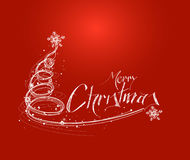 Merry Christmas! Christmas Background - Christmas Tree with red Royalty Free Stock Photography