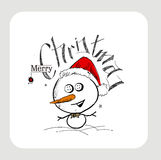Merry Christmas! Christmas background with cute Snowman  Stock Photo