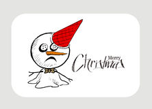 Merry Christmas! Christmas background with cute Snowman  Royalty Free Stock Photography