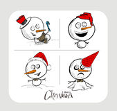 Merry Christmas! Christmas background with cute Snowman  Royalty Free Stock Images